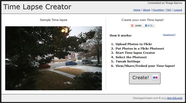Timelapse Creator funciona apenas com o Flickr (Foto: Reprodução/Thiago Barros)
