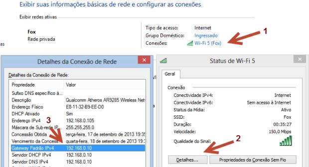 Siga a sequência acima para visualizar o IP de seu roteador (Foto: Reprodução/Joelson Santos)