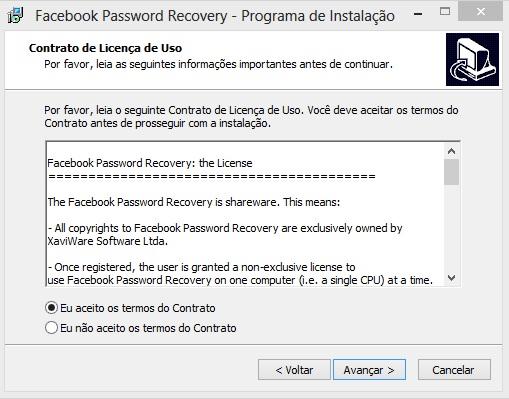 Contrato de licença de uso do Facebook Password Recovery (Foto: Reprodução/Carolina Ribeiro)