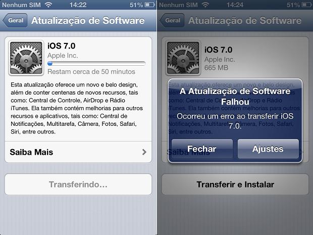 Download do iOS 7 está dando erro (Foto: Reprodução/Thiago Barros)