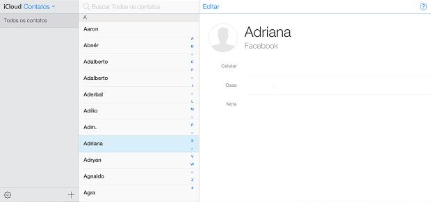 É muito fácil ver seus contatos no iCloud (Foto: Reprodução/Thiago Barros)