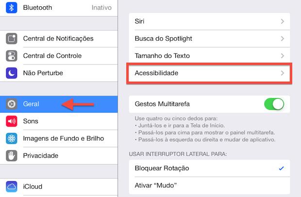 Configurações do iPad (Foto: Reprodução/Helito Bijora)