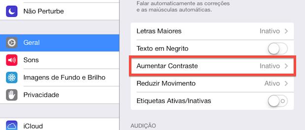 Configurações de acessibilidade (Foto: Reprodução/Helito Bijora)
