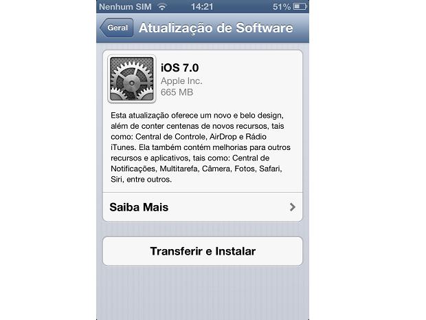 Esta é a tela de transferência do iOS (Foto: Reprodução/Thiago Barros)