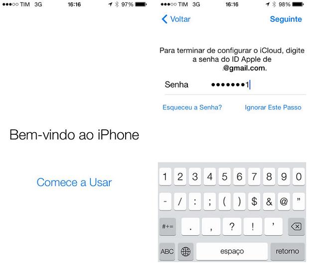 Assim você será recepcionado no novo iOS 7 (Foto: Reprodução/Thiago Barros)