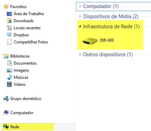 """O ícone """"Rede"""" pode ser acessado a partir de qualquer janela do Windows Explorer (Foto: Reprodução/Joelson Santos)"""