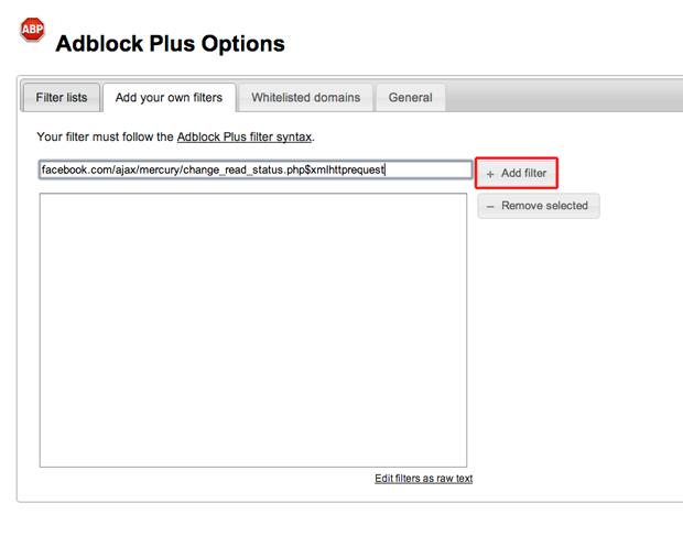 Adicionando um filtro para o Facebook no Adblock Plus (Foto: Reprodução/Marvin Costa)