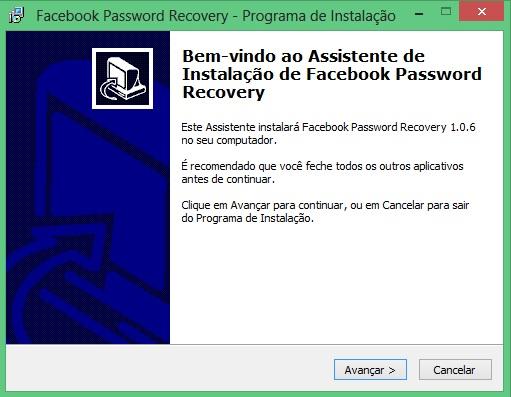 Tela inicial de instalação do Facebook Password Recovery (Foto: Reprodução/Carolina Ribeiro)