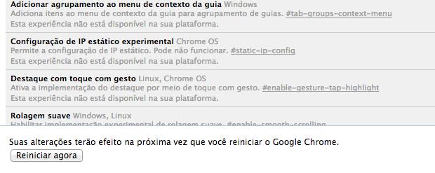 É necessário reiniciar o Chrome (Foto: Reprodução/Helito Bijora)