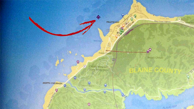 Localização aproximada de onde está a cauda do avião (Foto: SomeFilthyCasuals, gameinformer.com / Reprodução: Rafael Monteiro)