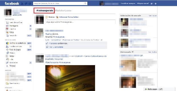 A imagem com a hashtag #minasgerais não aparece para um usuários que não está na lista de amigos (Foto: Reprodução/Lívia Dâmaso)
