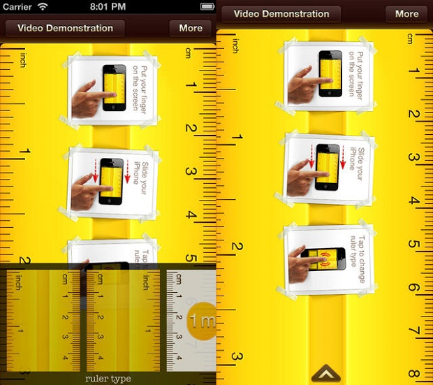 Escolha o tipo de regua e faça medições usando apenas seu gadget (Foto: Divulgação)