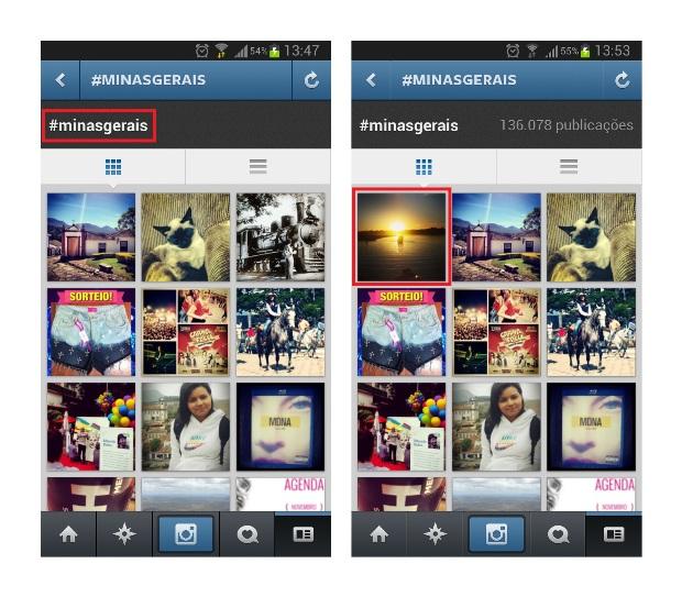Na primeira imagem, a busca foi feita por um usuário do Instagram que não segue o perfil. Na segunda, a pesquisa foi feita por um seguidor do perfil. (Foto: Reprodução/Lívia Dâmaso)