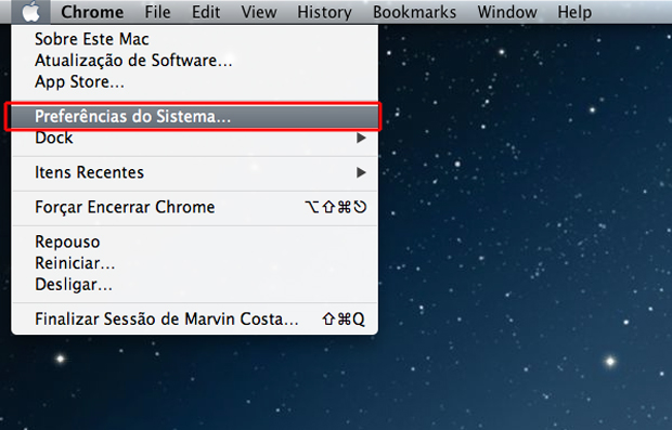 Acessando as preferências de sistema do Mac OS (Foto: Reprodução/Marvin Costa)