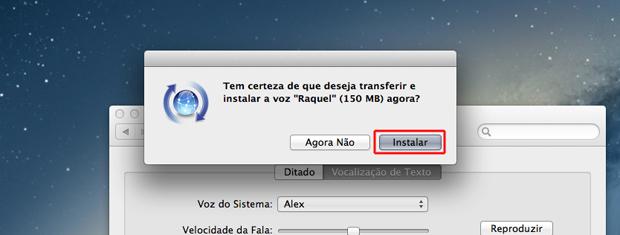 """Confirmando o download da voz """"Raquel"""" no Mac OS (Foto: Reprodução/Marvin Costa)"""