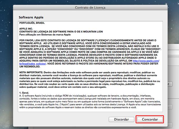 Aceitando os termos para instalação da voz Raquel no Mac OS (Foto: Reprodução/Marvin Costa)