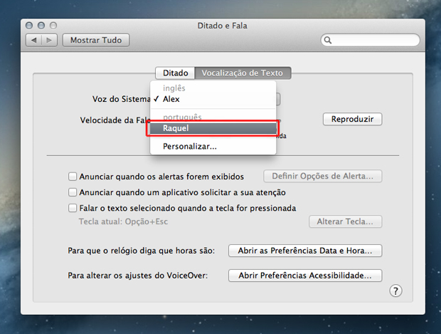 Alterando a voz do sistema para Raquel no Mac OS (Foto: Reprodução/Marvin Costa)