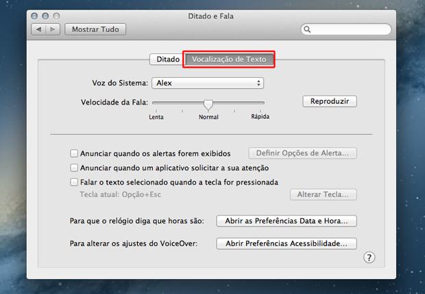 Acessando as opções de vocalização de texto do Mac OS (Foto: Reprodução/Marvin Costa)