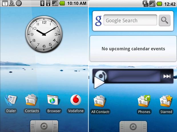 Android 1.5 tem visual bem diferente do atual (Foto: Reprodução String)