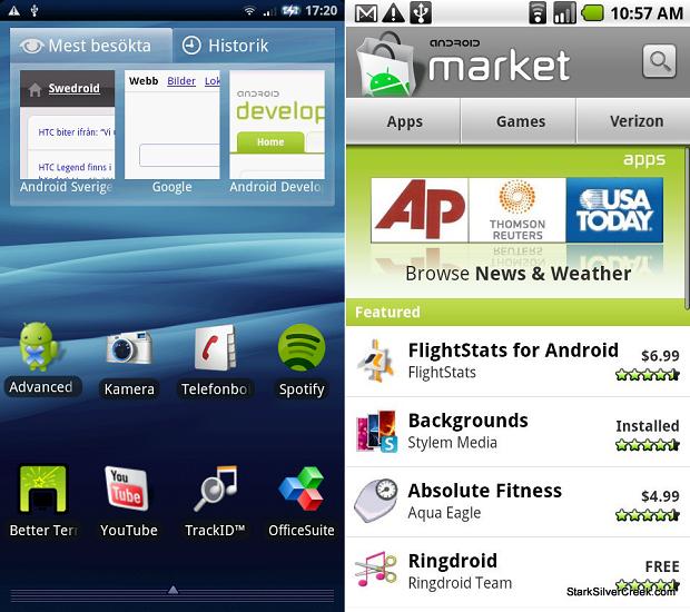 Android 2 já tem visual mais moderno (Foto: Reprodução Mobile Arena)