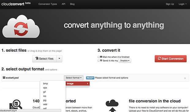 Interface do CloudConvert é muito simples de usar (Foto: Reprodução)