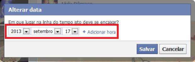 Alterando a data no post do Facebook (Foto: Reprodução/Lívia Dâmaso)