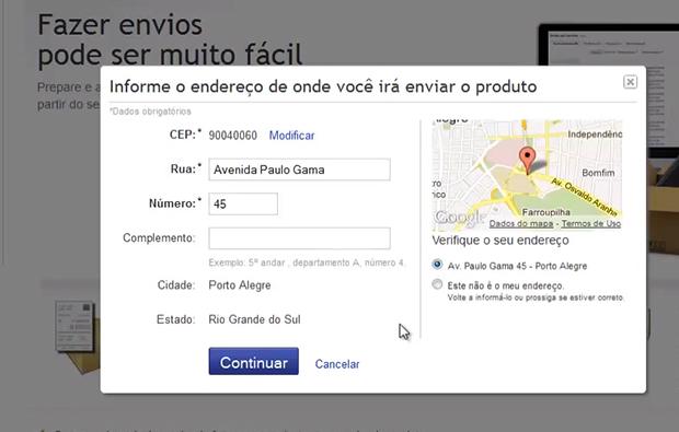 Preencha com o endereço de envio dos produtos (Foto: Reprodução)