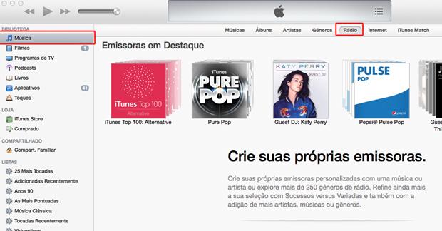 Acessando o iTunes Radio no iTunes (Foto: Reprodução/Marvin Costa)