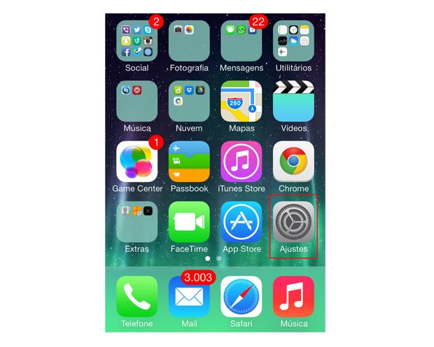 Acesse as opções de ajuste do iOS 7 (Foto: Reprodução/Marvin Costa)