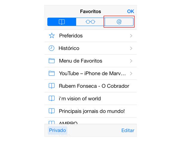 """Acessando a opção """"@"""" para visualizar a timeline do Twitter no Safari do iOS 7 (Foto: Reprodução/Marvin Costa)"""