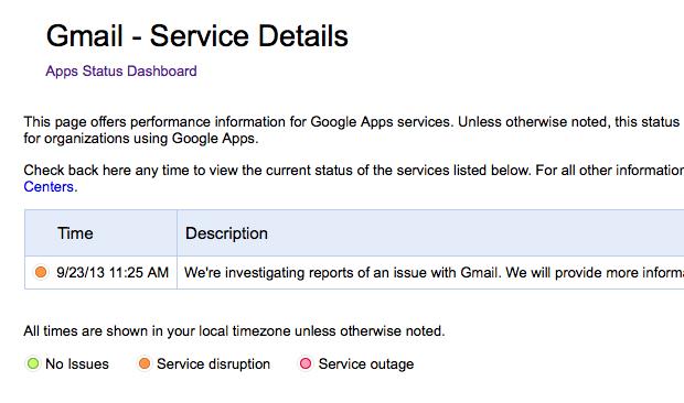 Página de status do Gmail informa problemas de acesso para alguns usuários  (Foto: Reprodução/Google)