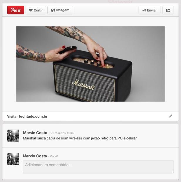 Pinterest agora pode ser usado para 'pinar' links e notícias (Foto: Reprodução/Marvin Costa)