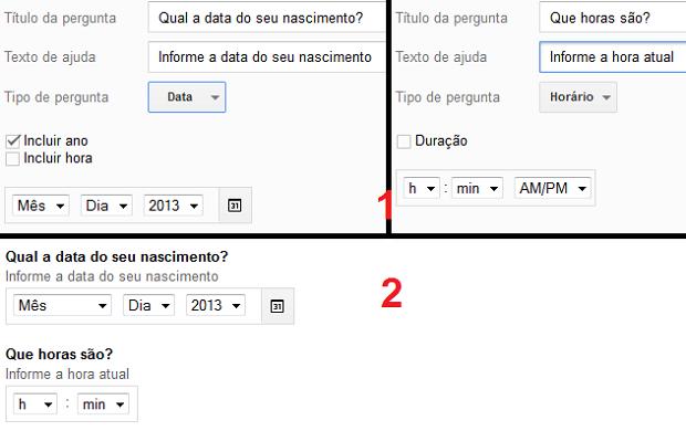 """Criando perguntas do tipo """"Data"""" e """"Hora"""": antes e depois (Foto: Reprodução/Edivaldo Brito)"""