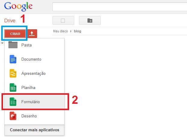 Iniciando a criação de um formulário no Google Drive (Foto: Reprodução/Edivaldo Brito)