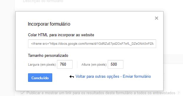 Pegando o código HTML do formulário para incorporar a uma página web (Foto: Reprodução/Edivaldo Brito)