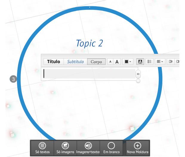 Para inserir conteúdo, escolha o frame e clique na caixa de texto (Foto: Reprodução/Prezi) (Foto: Para inserir conteúdo, escolha o frame e clique na caixa de texto (Foto: Reprodução/Prezi))