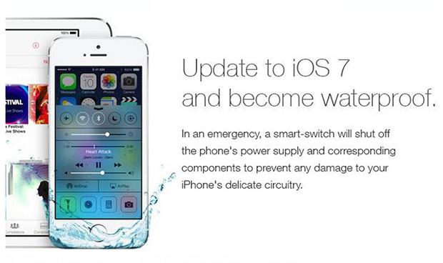 Rumor falso espalhado na internet engana usuários explicando como o iOS 7 faz iPhone e iPad à prova d'água (Foto: Reprodução/Independent)