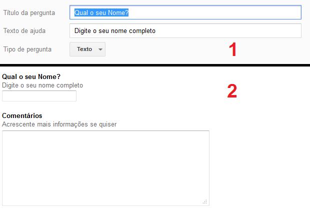 """Criando perguntas do tipo """"Texto"""" e """"Texto do parágrafo"""": antes e depois (Foto: Reprodução/Edivaldo Brito)"""