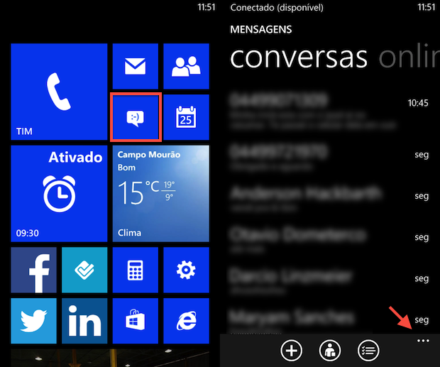 Aplicativo 'Mensagens' no WP8 (Foto: Reprodução/Helito Bijora)