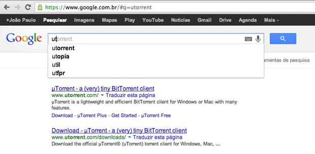 Nome dos clientes de torrent já aparecem na versão brasileira do buscador (Foto: Reprodução/Google)