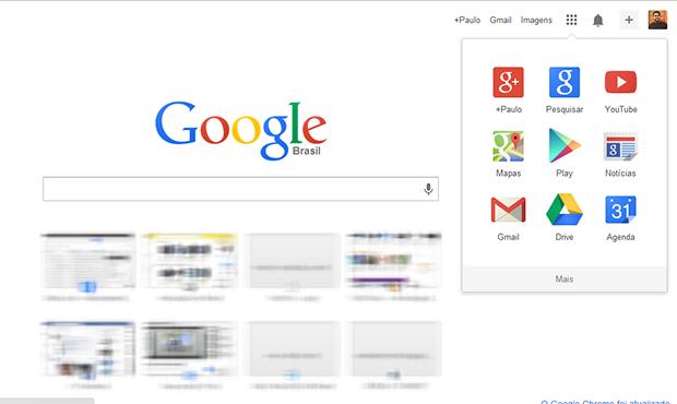 Nova aba do Chrome traz campo de buscas e atalhos para serviços do Google (Foto: Reprodução/Paulo Alves)