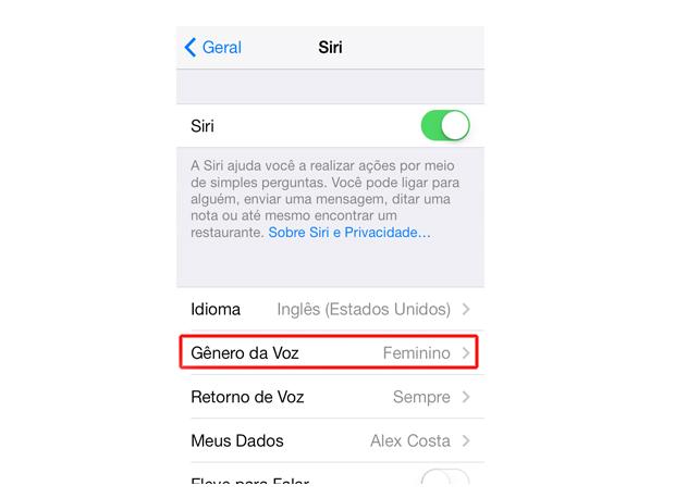 Acessando a opção gênero da voz da Siri do iOS 7 (Foto: Reprodução/Marvin Costa)