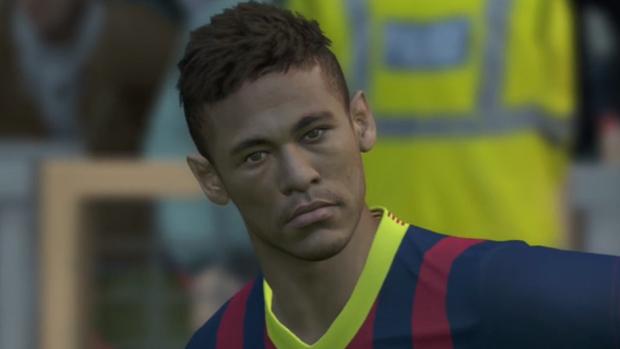 Neymar mal pode esperar para jogar pelo Barcelona em PES 2014 (Foto: Reprodução)