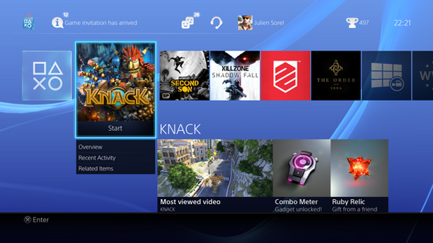 Interface do PlayStation 4 mostra uma lista de seus jogos recentes (Foto: Eurogamer)