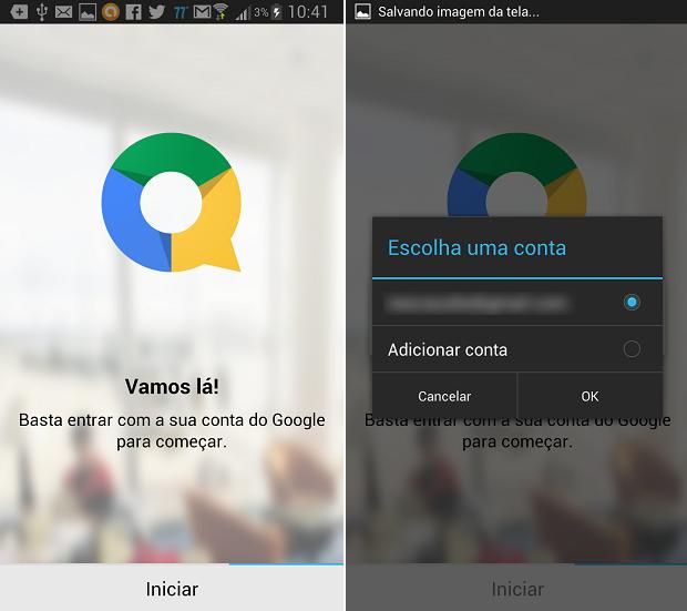 Escolha sua conta do Google e avance na tela de início do QuickOffice (Foto: Reprodução/Thiago Barros)