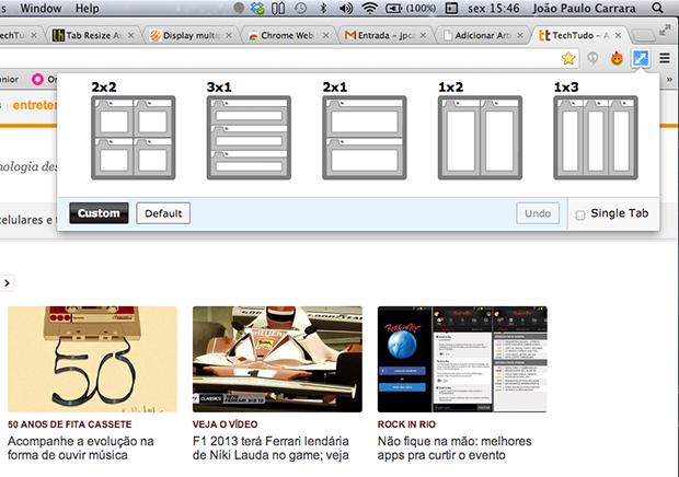 Cinco layouts estão disponíveis por padrão no Tab Resize (Foto: Reprodução)
