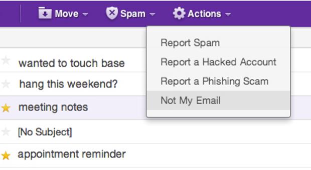 Yahoo! criou um botão para informar quando o e-mail recebido não era pra você. (Foto: Reprodução/TechCrunch)