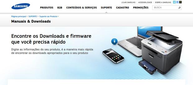 Acesse o site da Samsung para procurar o driver que você precisa (Foto: Reprodução/TechTudo)