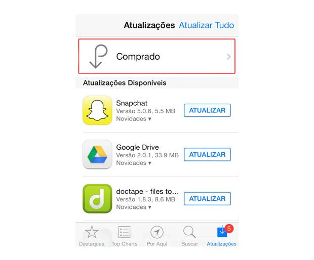 Acessando os itens baixados pelo usuário na App Store do iOS 7 (Foto: Reprodução/Marvin Costa)