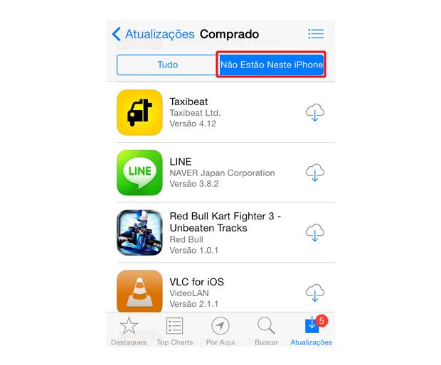 Acessando os aplicativos salvos no iCloud do iOS 7 (Foto: Reprodução/Marvin Costa)